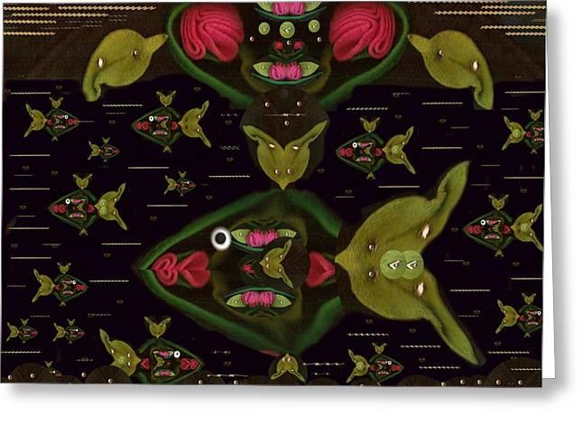 Decorative Fish Mixed Media Greeting Cards - Lotus Fish Greeting Card by Pepita Selles