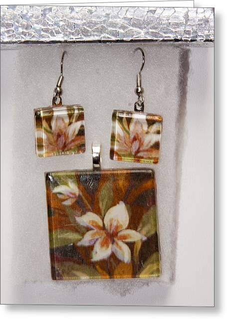 Tiled Jewelry Greeting Cards - Lotus flower pendant and earring set Greeting Card by Darleen Stry
