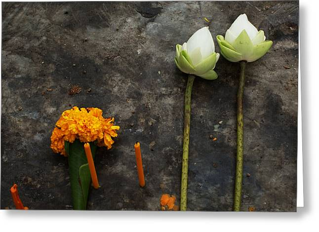 Paul Grand Greeting Cards - Lotus flowers on a Thai shrine Greeting Card by Paul Grand