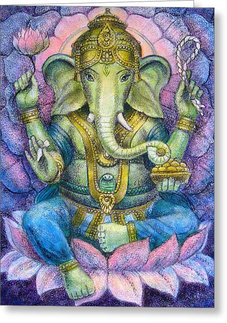 Hindu Greeting Cards - Lotus Ganesha Greeting Card by Sue Halstenberg