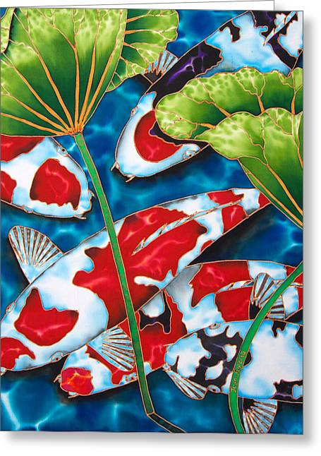 Pond Tapestries - Textiles Greeting Cards - Lotus Garden Greeting Card by Daniel Jean-Baptiste