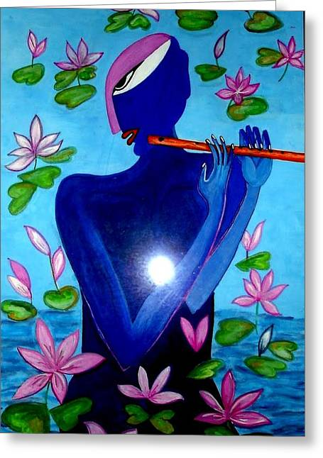 Gopala Greeting Cards - Lotus Krishna Greeting Card by Times Art