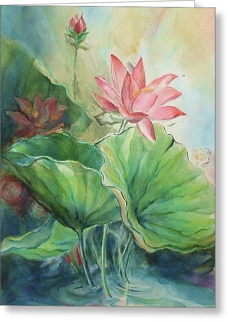 Honokaa Pond Greeting Cards - Lotus of Hamakua Greeting Card by Wendy Wiese