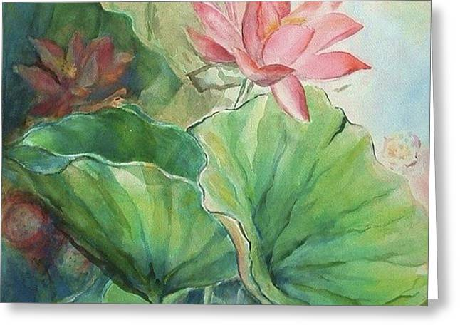 Lotus of Hamakua Greeting Card by Wendy Wiese
