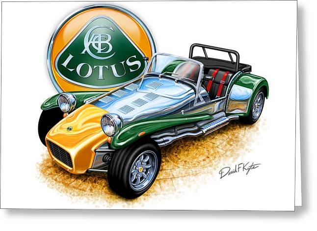 Lotuses Greeting Cards - Lotus Super Seven sports car Greeting Card by David Kyte