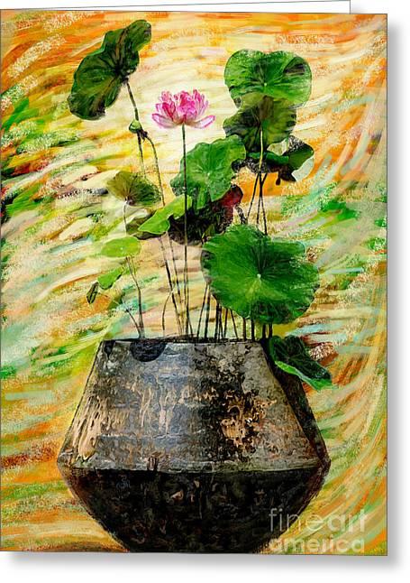Water Jars Photographs Greeting Cards - Lotus Tree In Big Jar Greeting Card by Atiketta Sangasaeng