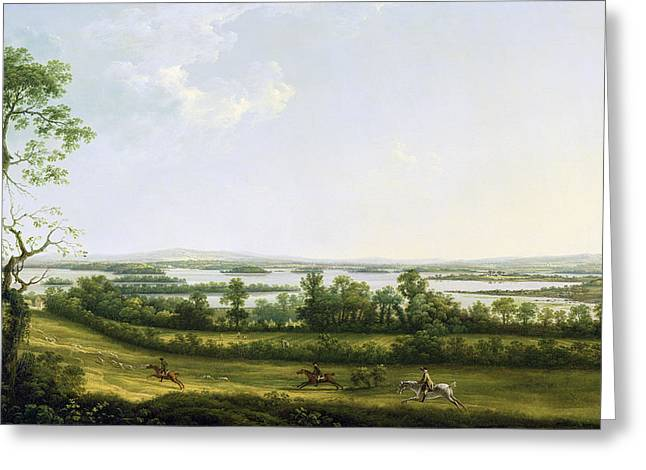 In The Distance Greeting Cards - Lough Erne from Knock Ninney - with Bellisle in the Distance Greeting Card by Thomas Roberts