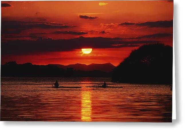 Reflection Of Sun In Clouds Greeting Cards - Lough Leane, Killarney, Co Kerry Greeting Card by The Irish Image Collection