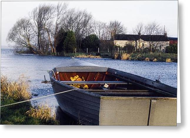 Neagh Greeting Cards - Lough Neagh, Co Antrim, Ireland Boat In Greeting Card by Sici