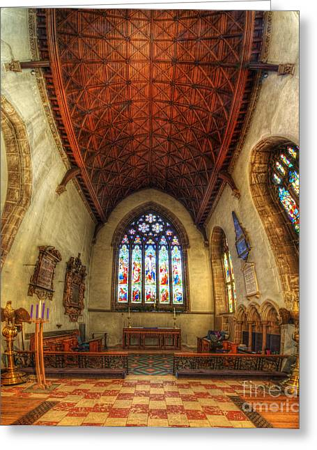 Religious Framed Prints Greeting Cards - Loughborough Church - Altar Vertorama Greeting Card by Yhun Suarez