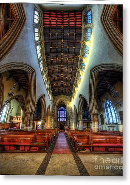 Religious Framed Prints Greeting Cards - Loughborough Church - Nave Vertorama Greeting Card by Yhun Suarez