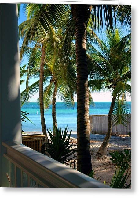 Key West Greeting Cards - Louies Backyard Greeting Card by Susanne Van Hulst