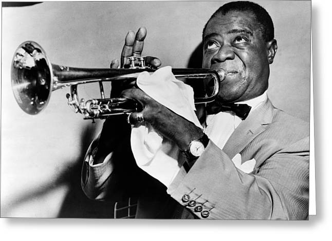 Black Tie Greeting Cards - Louis Armstrong 1900-1971 Greeting Card by Granger