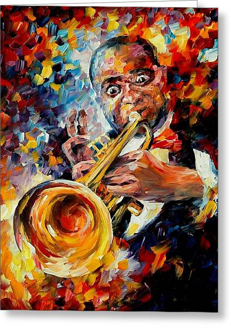 Soul Music Greeting Cards - Louis Armstrong Greeting Card by Leonid Afremov