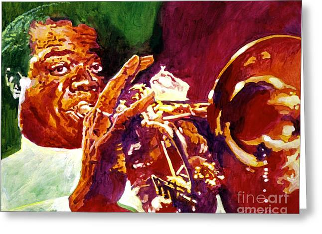 Singer Paintings Greeting Cards - Louis Armstrong Pops Greeting Card by David Lloyd Glover