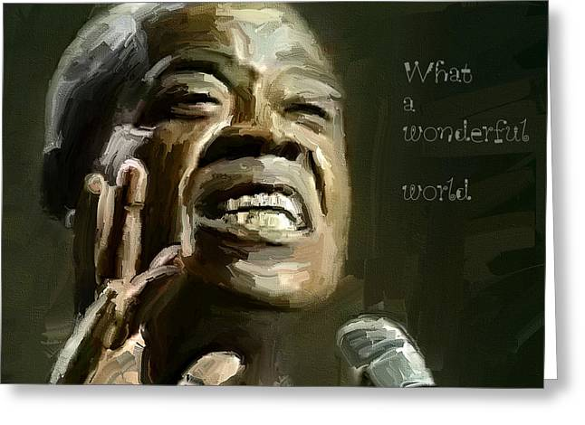 Louis Armstrong Wonderful World Greeting Card by Yury Malkov