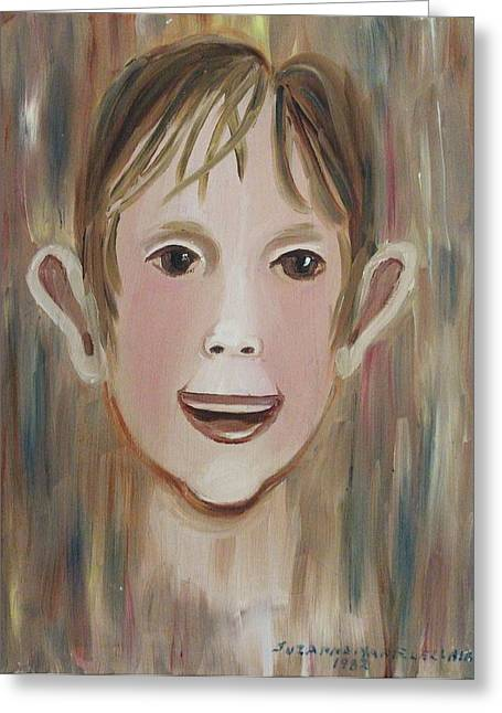 Suzanne Marie Leclair Paintings Greeting Cards - Louis in the Pool Greeting Card by Suzanne  Marie Leclair