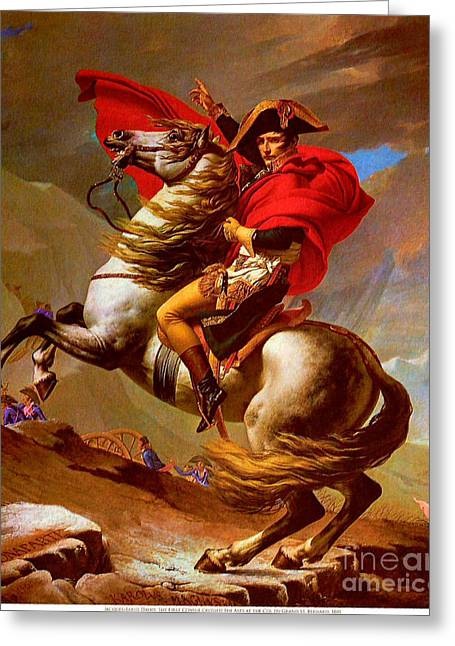 Jacques Louis (1748-1825) Paintings Greeting Cards - Louis Napoleon At The St Bernard Pass Greeting Card by Pg Reproductions