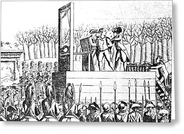 Financial Crisis Greeting Cards - Louis Xvi, Being Led To The Guillotine Greeting Card by Photo Researchers
