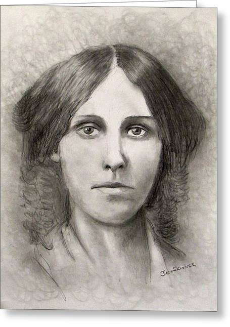 Alcott Greeting Cards - Louisa May Alcott Greeting Card by Jack Skinner