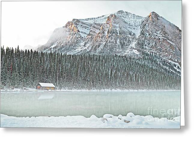 Framed Winter Snow Photograph Greeting Cards - Louise Cabin Greeting Card by Andrea Hazel Ihlefeld