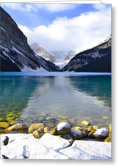 Rocky Mountains Greeting Cards Greeting Cards - Louise Glacial Waters Greeting Card by Andrea Hazel Ihlefeld