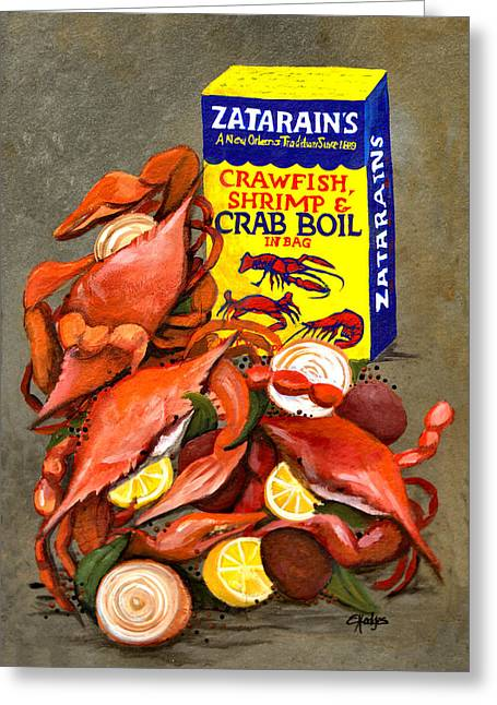 Creole Greeting Cards - Louisiana Boiled Crabs Greeting Card by Elaine Hodges