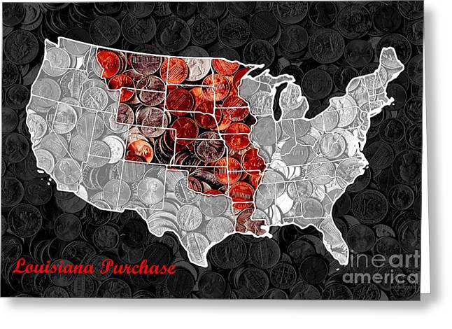 Purchase Greeting Cards - Louisiana Purchase Coin Map . v1 Greeting Card by Wingsdomain Art and Photography
