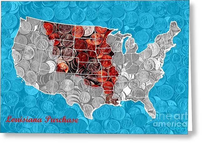 Louisiana Purchase Greeting Cards - Louisiana Purchase Coin Map . v2 Greeting Card by Wingsdomain Art and Photography