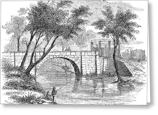 Fishing Creek Greeting Cards - LOUISVILLE: BRIDGE, c1850 Greeting Card by Granger