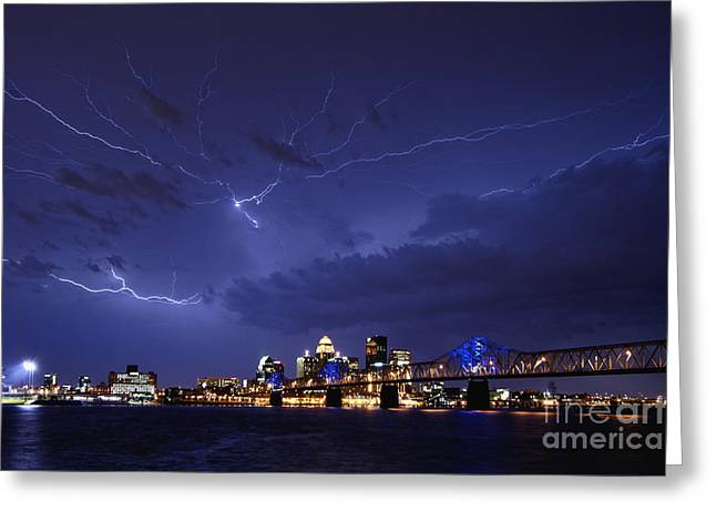 Lightning Strike Greeting Cards - Louisville Storm - D001917b Greeting Card by Daniel Dempster