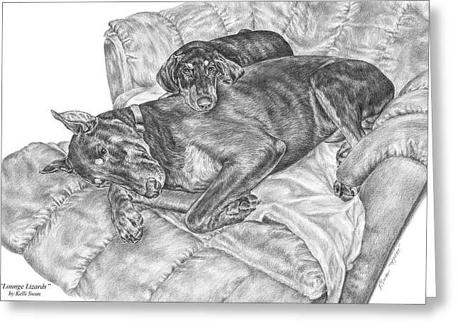 Lounge Lizards - Doberman Pinscher Dog Art Print Greeting Card by Kelli Swan