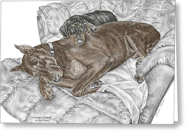 Dobermann Greeting Cards - Lounge Lizards - Doberman Pinscher Puppy Print color tinted Greeting Card by Kelli Swan