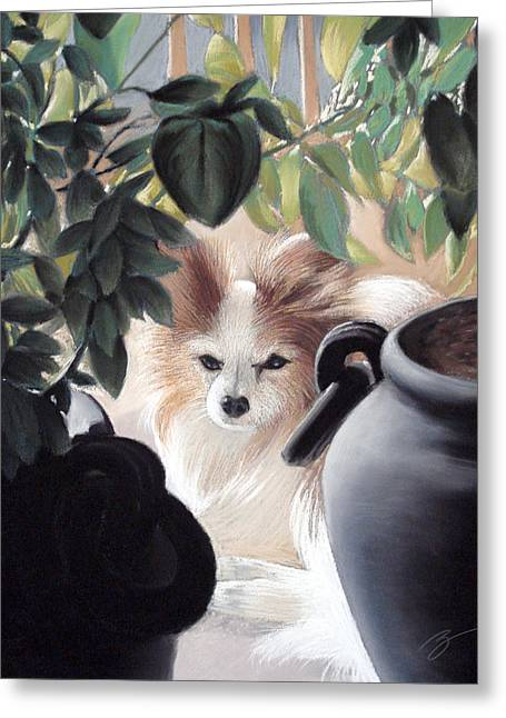 Puppies Pastels Greeting Cards - Lounging in the sun Greeting Card by Ben Kotyuk