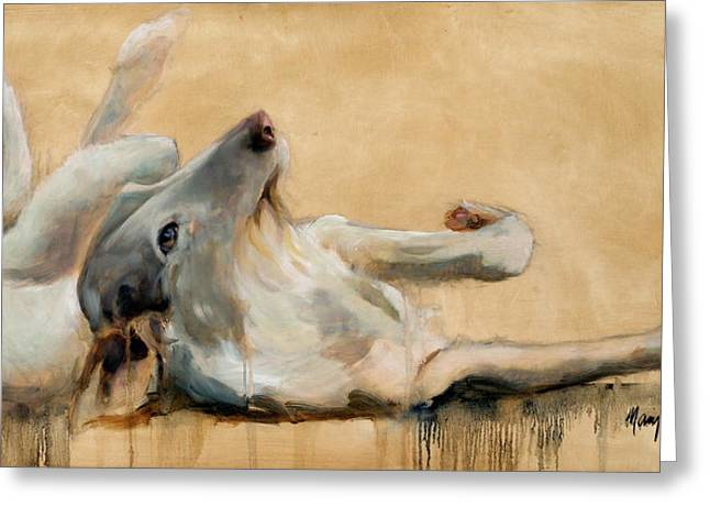 lounging Greeting Card by Mary Leslie