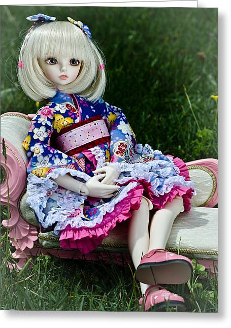 Loli Greeting Cards - Lounging Greeting Card by Michael Huang