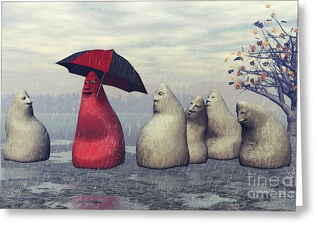 3d Figures Greeting Cards - Lousy Weather Greeting Card by Jutta Maria Pusl