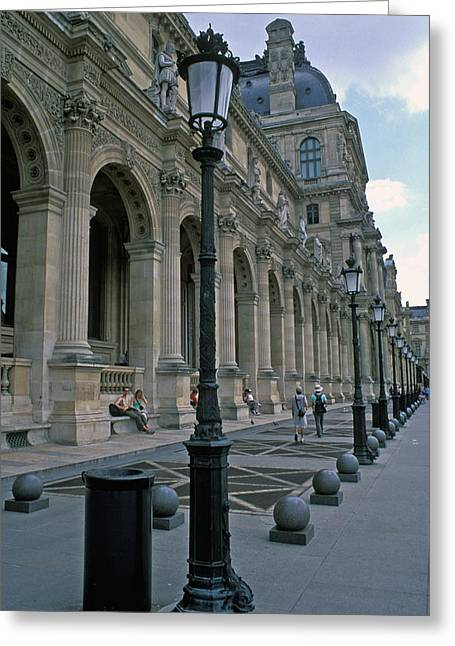 Architecture Framed Prints Greeting Cards - Louvre Lampposts Greeting Card by Kathy Yates