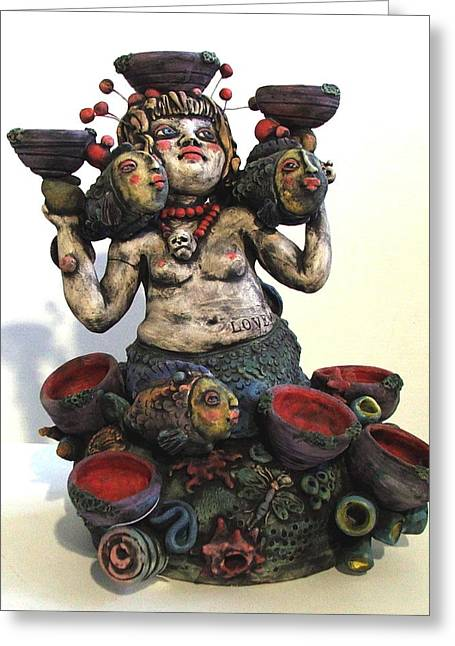 Fired Ceramics Greeting Cards - Love All Greeting Card by Kathleen Raven