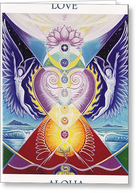 Chakra Rainbow Greeting Cards - Love  Aloha Greeting Card by Tulsi Devi Art