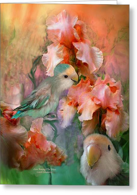 Parrot Art Greeting Cards - Love Among The Irises Greeting Card by Carol Cavalaris