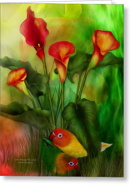 Calla Lily Greeting Cards - Love Among The Lilies  Greeting Card by Carol Cavalaris