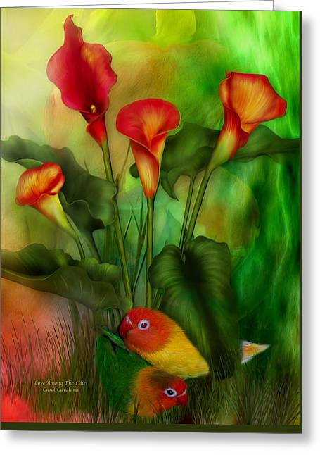 Parrot Art Print Greeting Cards - Love Among The Lilies  Greeting Card by Carol Cavalaris