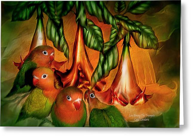 Birds And Flowers Greeting Cards - Love Among The Trumpets Greeting Card by Carol Cavalaris