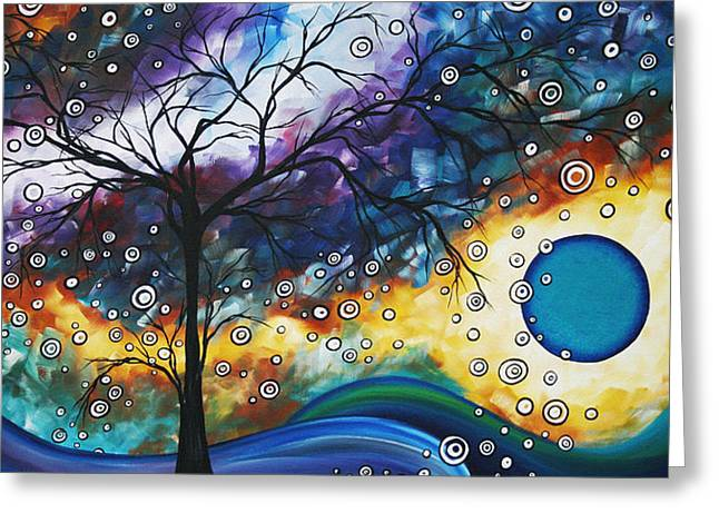 Aqua Blue Greeting Cards - Love and Laughter by MADART Greeting Card by Megan Duncanson