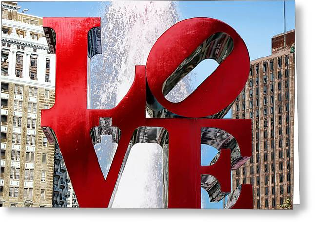 """robert Indiana"" Greeting Cards - Love Greeting Card by Andrew Fare"