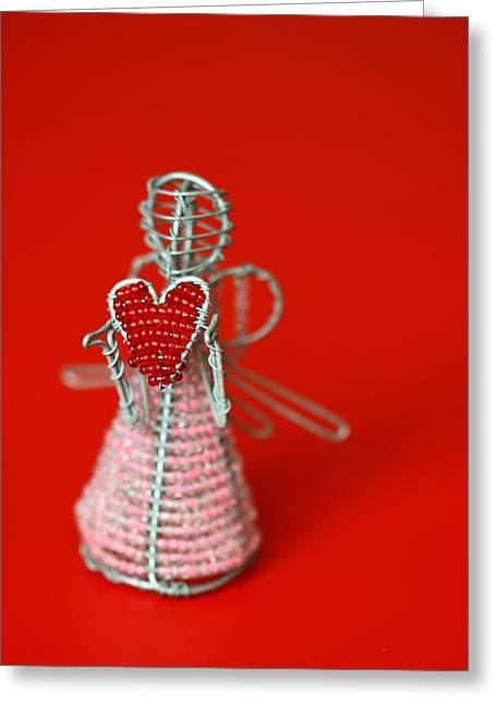Figurines Greeting Cards - Love Angel Greeting Card by Evelina Kremsdorf