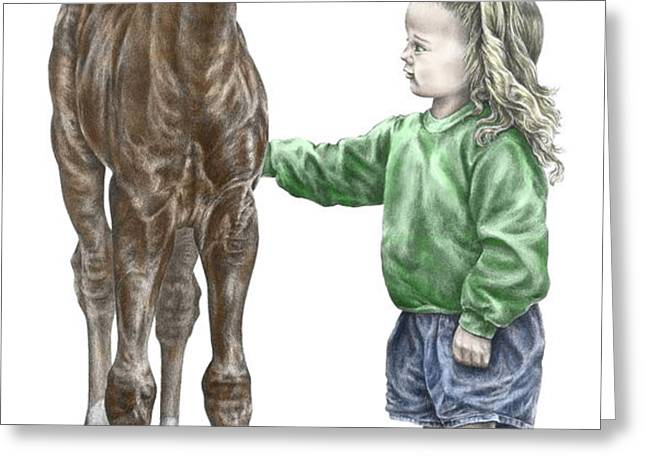 Love at First Sight - Girl and Horse Print color tinted Greeting Card by Kelli Swan