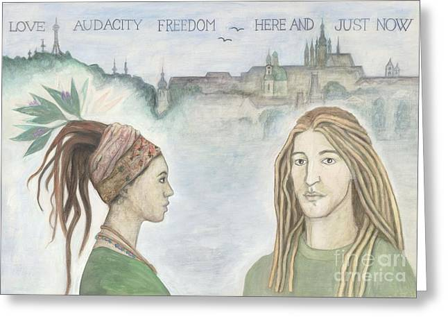 Prague Paintings Greeting Cards - Love Audacity Freedom Greeting Card by K Prager