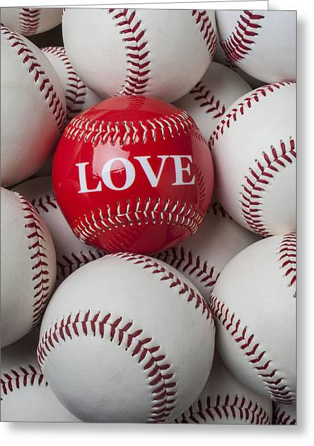 Love Letter Greeting Cards - Love baseball Greeting Card by Garry Gay